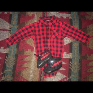 Buffalo Plaid long sleeve onesie and boots!
